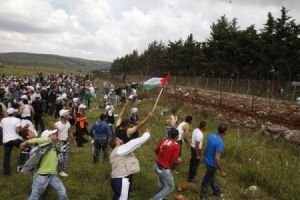 Nakba Day protests on Lebanon's southern border with Palestine.